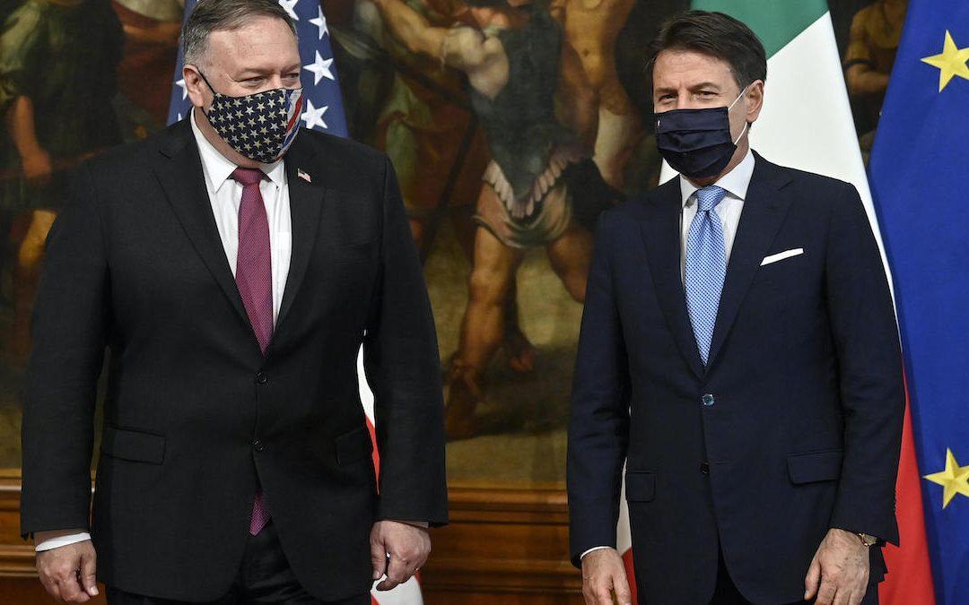Il segretario di Stato Usa Mike Pompeo e il premier Giuseppe Conte (Foto Riccardo Antimiani/LaPresse)