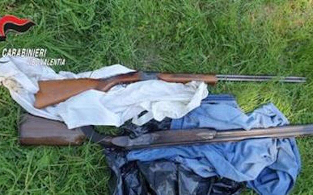 Le armi ritrovate dai carabinieri