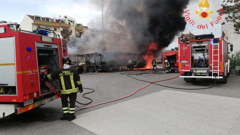 VIDEO - L'intervento dei vigili del fuoco per l'incendio che ha distrutto tre autobus a Soverato