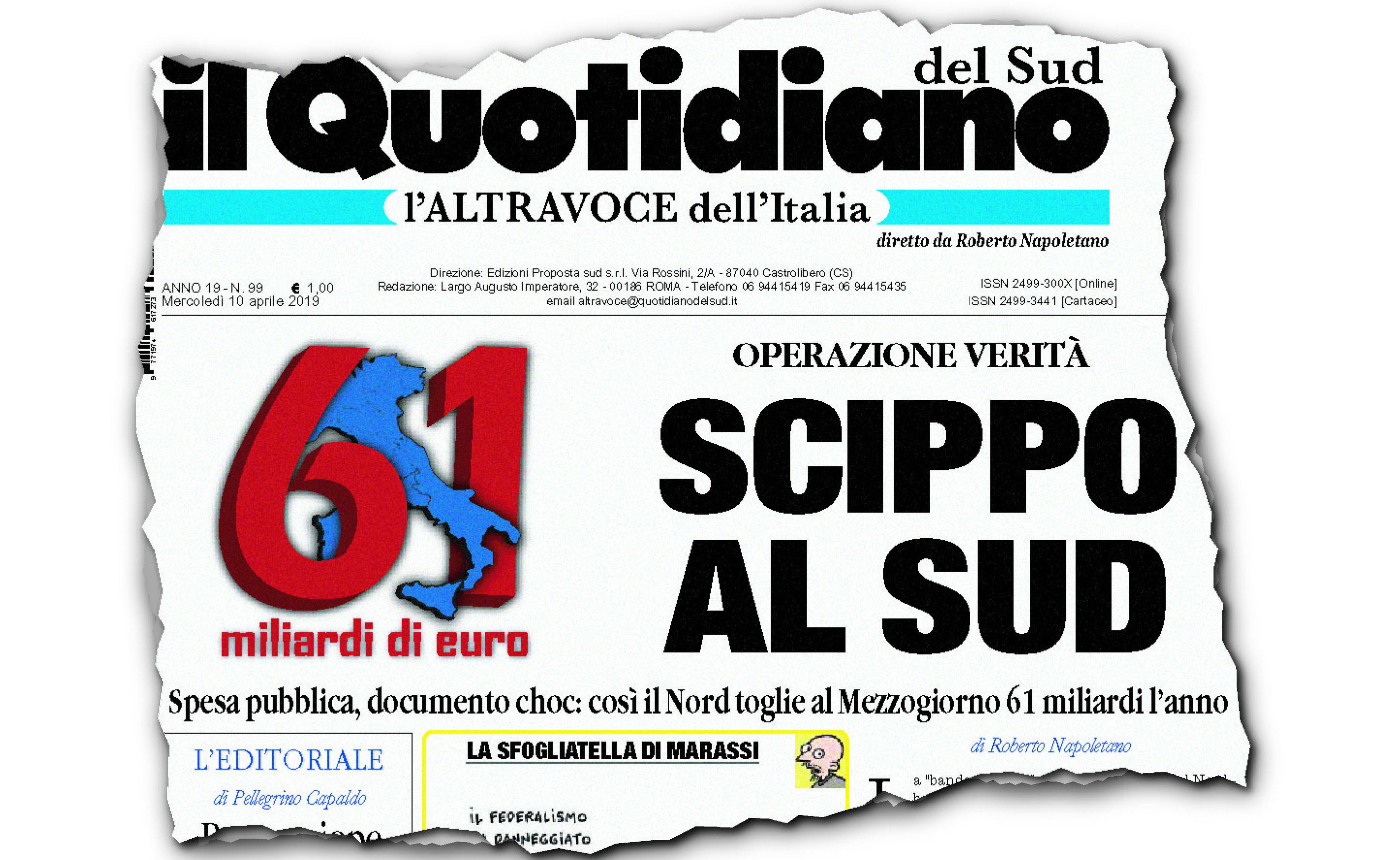 Operazione verità sulla vergogna italianaScippo al Sud,cominciamo ad essere in tanti
