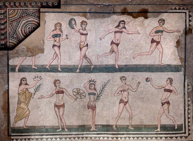 Mille anni per dare alle donne il diritto di gareggiareA Piazza Armerina un mosaico con 10 atlete in 2 pezzi