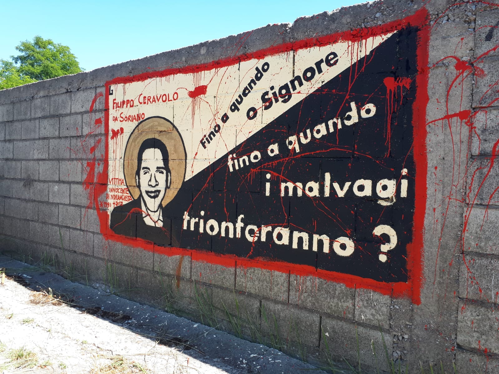 Omicidio Filippo Ceravolo, un murales ricorda il 19enneL'opera realizzata in pieno centro a Vibo Valentia