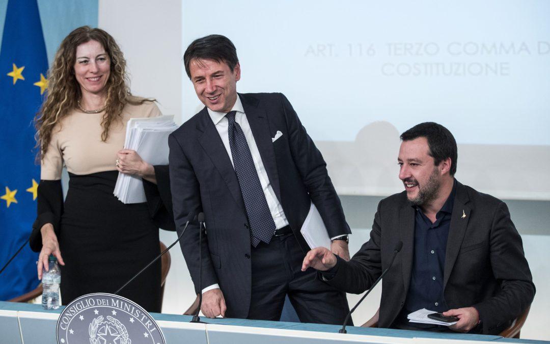 Il ministro Stefani, il presidente Conte e il vicepremier Salvini