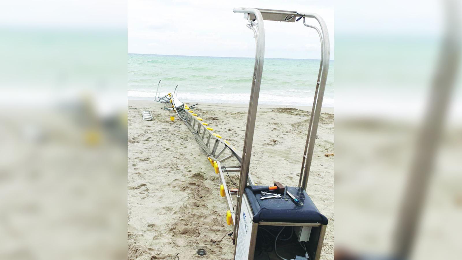 La furia del mare danneggia il sistema Seatrac del lido Valentino Maltempo, l'appello della Cooperativa Zarapoti: «Dateci una mano»