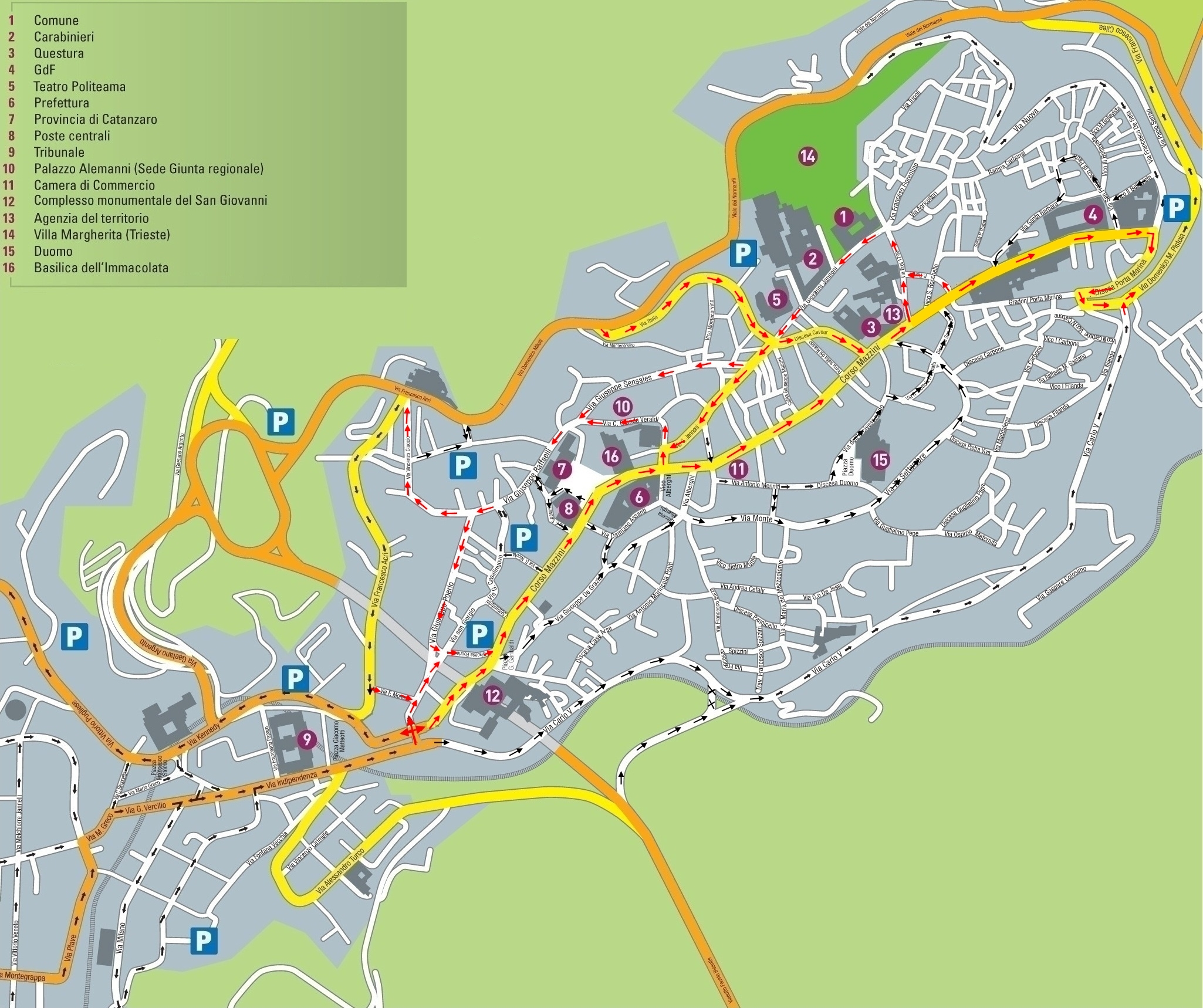 FOTO – La mappa con la nuova viabilità per Corso Mazzini a Catanzaro