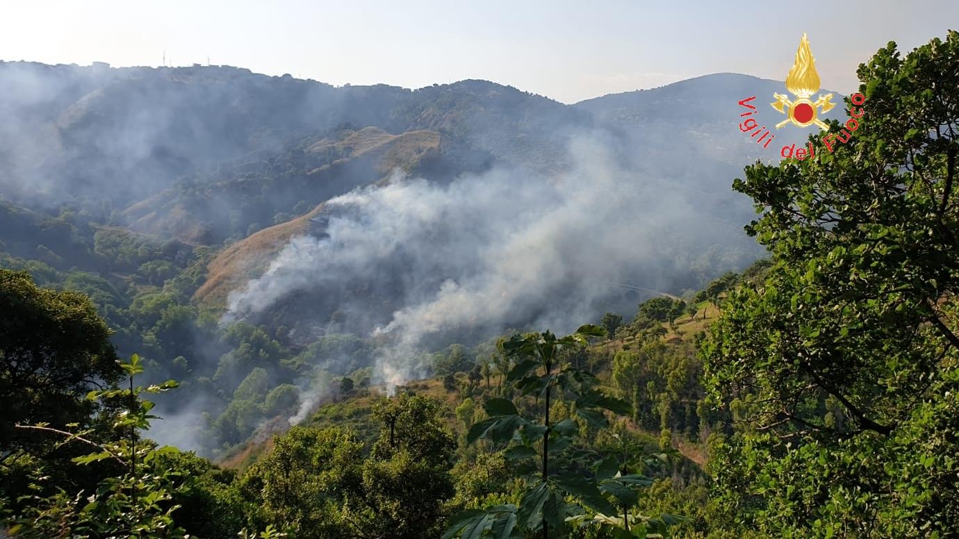 VIDEO – Nuovo incendio nel parco della biodiversità di Catanzaro, mezzi aerei in azione