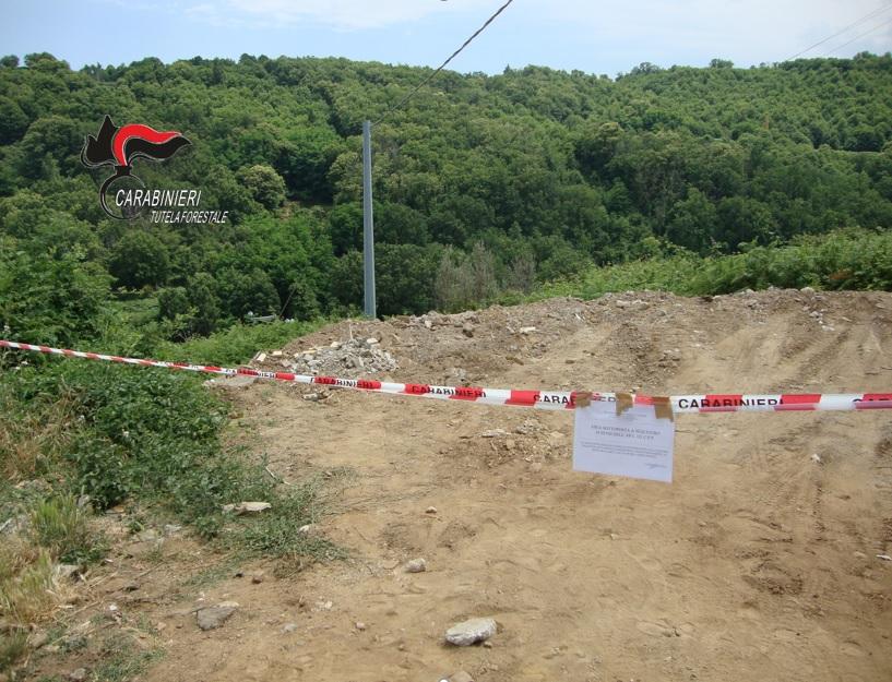 L'area dove sono stati ammassati i rifiuti