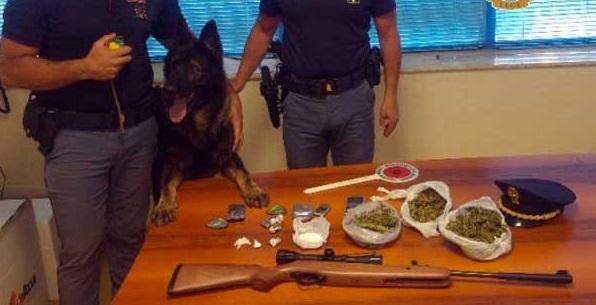 Droga e una carabina rinvenuti a CatanzaroControlli con le unità cinofile in vari quartieri