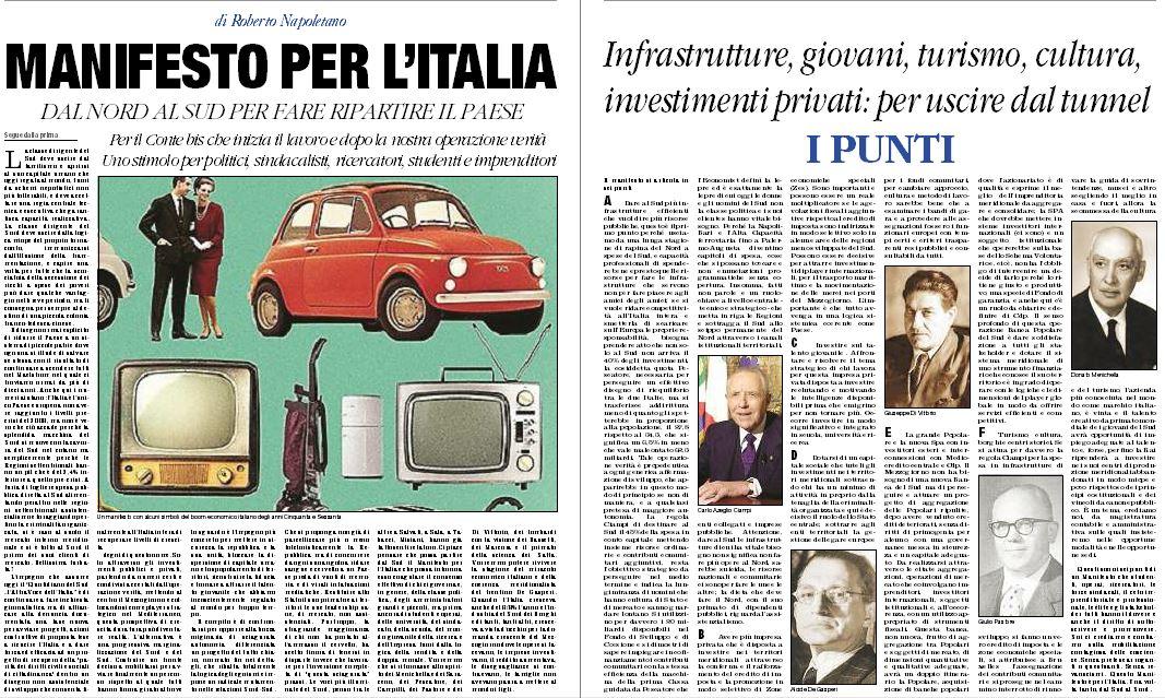 La lettera sul Manifesto per l'Italia Musolino: «Siamo nati incatenati, servi volontari del potere» Napoletano: «Basta flagellarsi, combattiamo le catene di sistema»