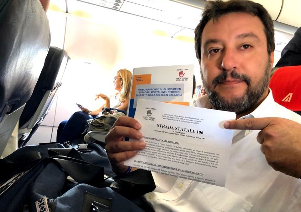 """Salvini """"scopre"""" la statale 106, interrogazione per avere interventi urgenti"""