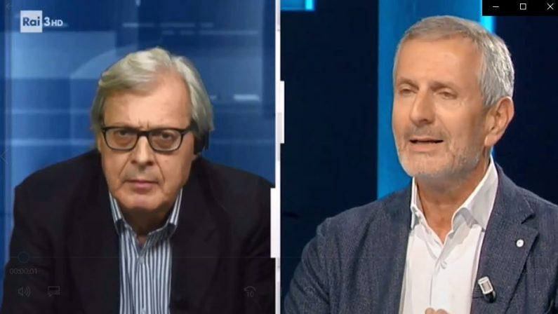 """Cosenza, Sgarbi a #Cartabianca: """"La Lega pone il veto su Occhiuto perché condizionata dai Gentile"""""""