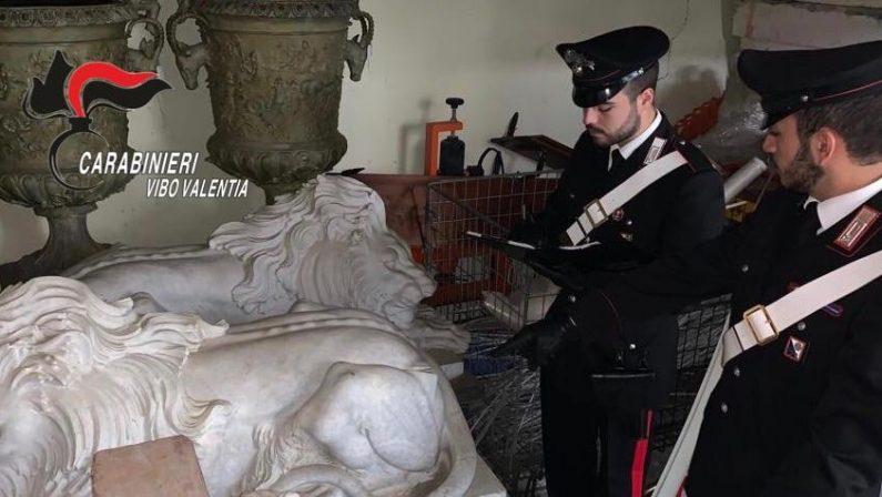 Opere d'arte del 1200 in una rimessa, denunciato un uomo nel Vibonese