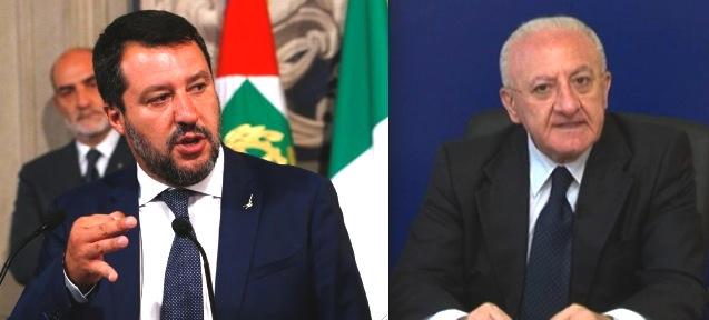 De Luca a Salvini, basta sciocchezze, pronto a un confronto