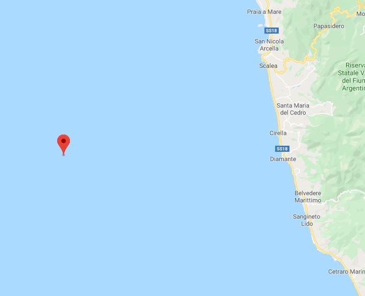 Sciame sismico nel Tirreno Cosentino, altri 4 terremoti in mattinata. Il più forte di 3.1