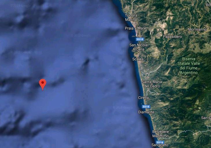 Terremoti, serie di scosse davanti la costa tirrenica del Cosentino. La più forte magnitudo 3.7