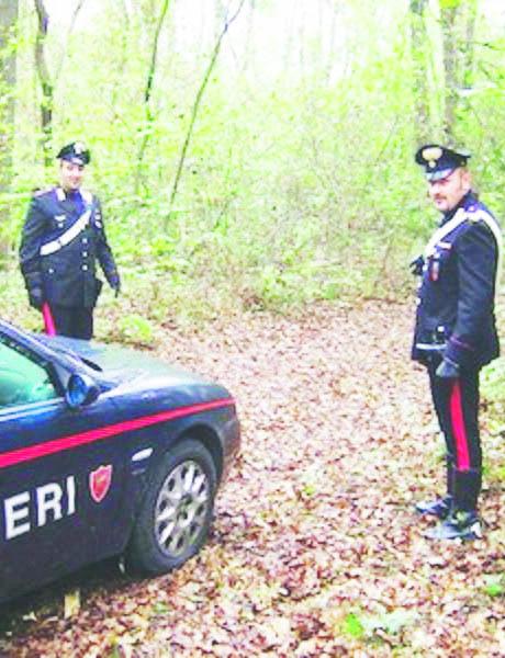 Rilievi dei carabinieri in un bosco