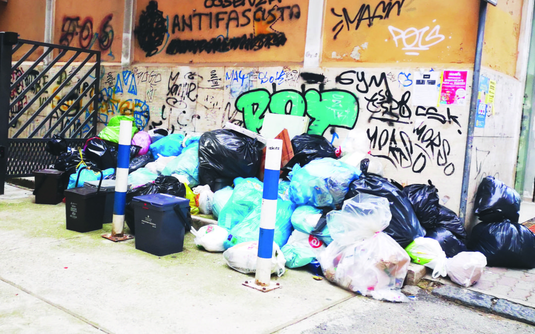 Rifiuti abbandonati in una strada del centro a Cosenza