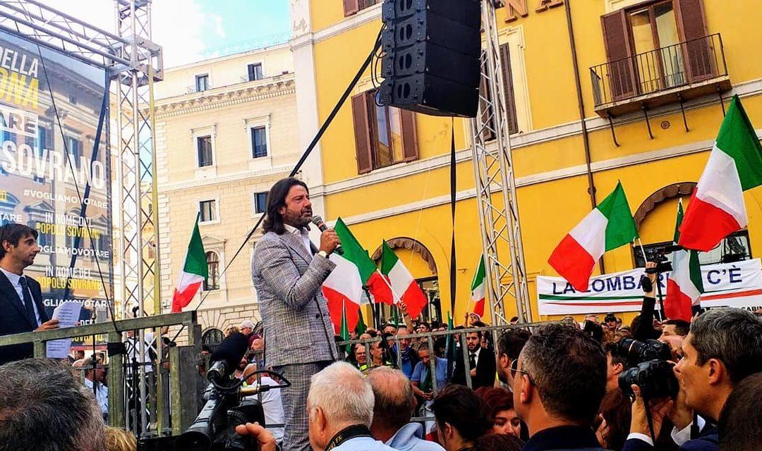 Il patron del Potenza Calcio, Salvatore Caiata, candidato alle politiche nei 5 Stelle e oggi transitato in Fratelli d'Italia, durante un'iniziativa del partito di Giorgia Meloni a Roma