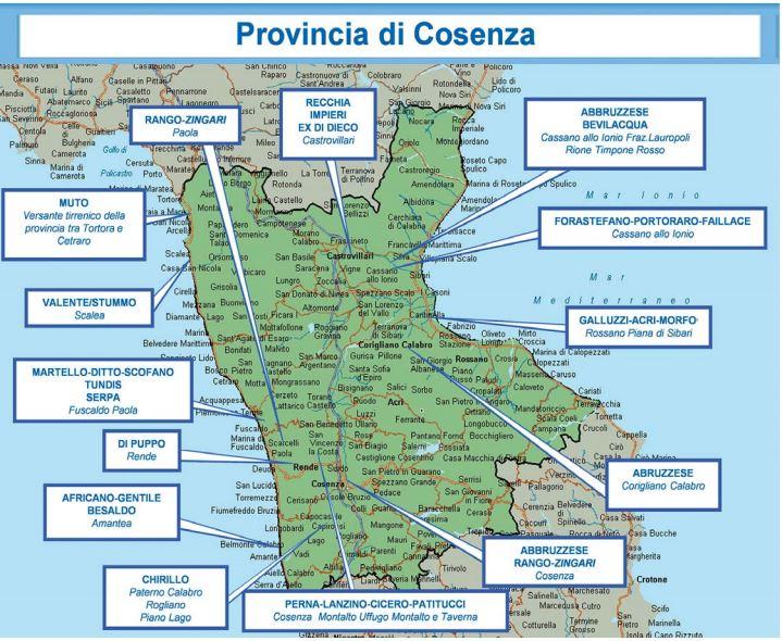 FOTO - Le mappe con tutte le cosche della 'ndrangheta in Calabria