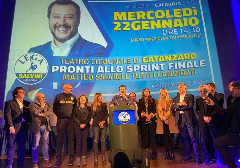 Elezioni regionali, Salvini chiude le sue visite in Calabria: «Vinciamo con 20 punti»