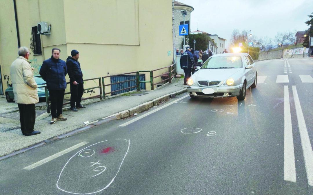 I segni sull'asfalto dopo l'incidente di sabato scorso a San Rocco (foto Ufficio Stampa Basilicata)