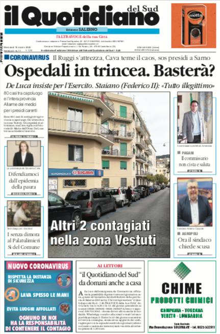 Il Quotidiano del Sud di Salerno da domani anche a casa