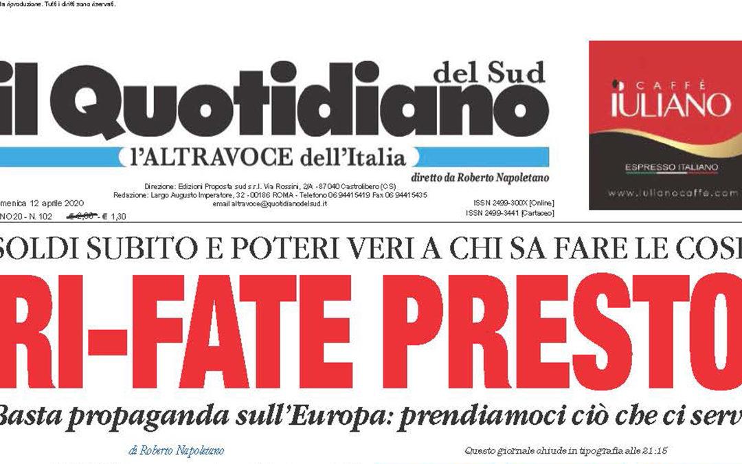 La prima pagina del Quotidiano del Sud L'Altravoce dell'Italia