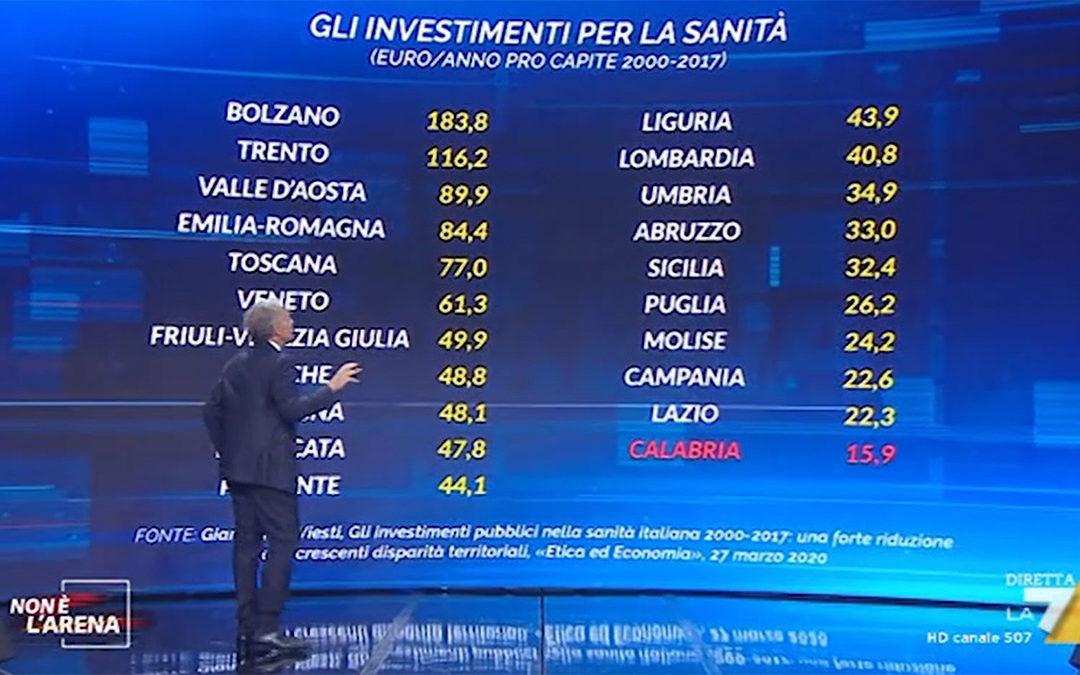 Massimo Giletti mostra la tabella elaborata dal Quotidiano del Sud durante Non è l'Arena