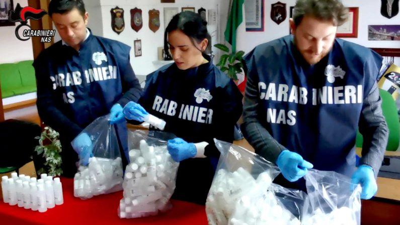 Più di mille confezioni di liquido igienizzante non a norma sequestrato dai carabinieri a Reggio Calabria