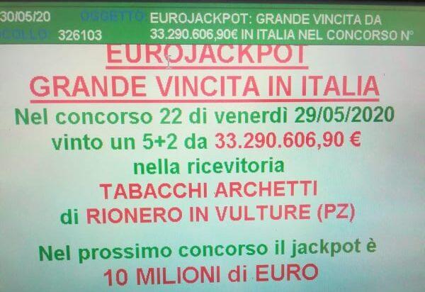 Eurojackpot, vincita da oltre 33 milioni di euro nel Potentino