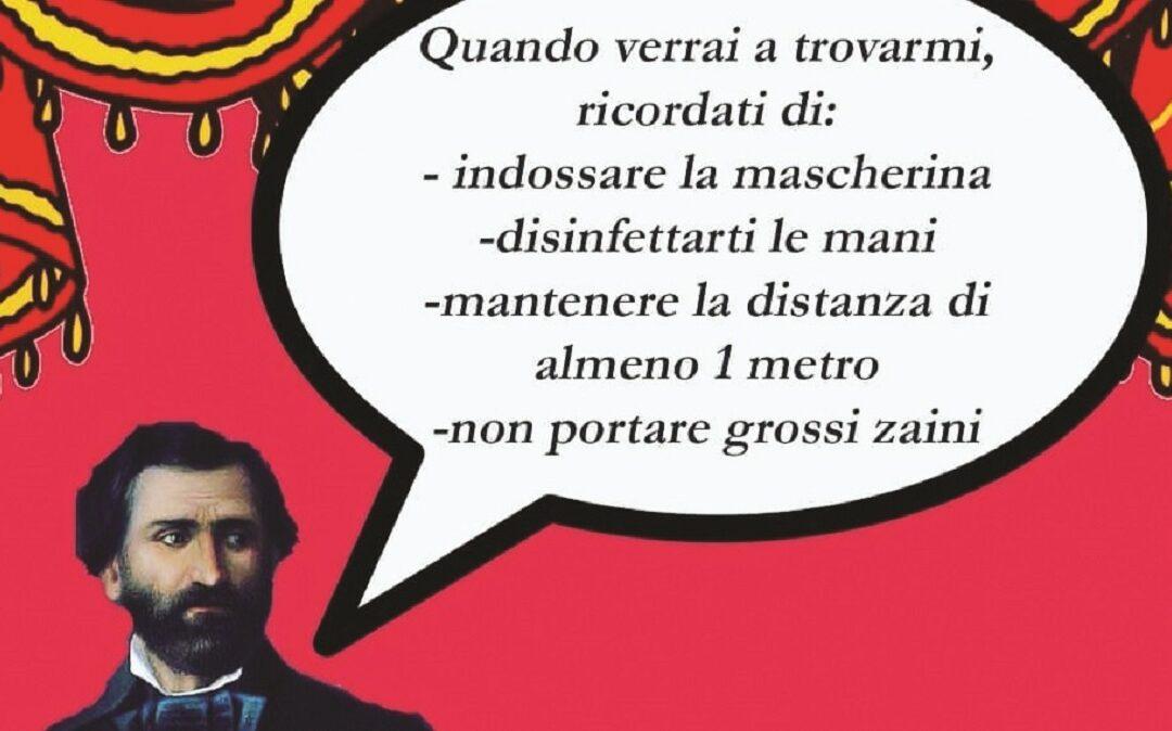 Giuseppe Verdi spiega le regole per accedere al museo (foto: da instangram @museoscala)