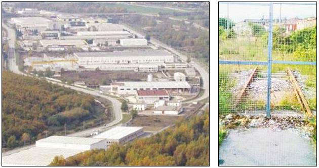 L'area industriale; a destra i binari costruiti e mai terminati che si fermano nel piazzale della stazione ferroviaria