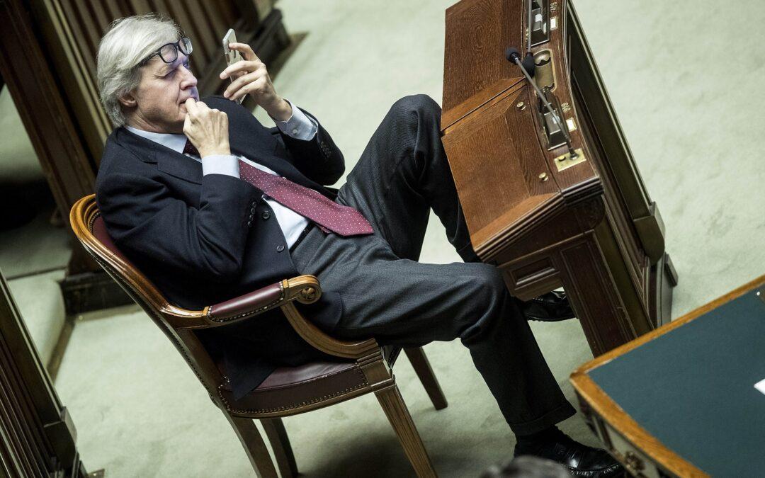 Vittorio Sgarbi in aula alla Camera