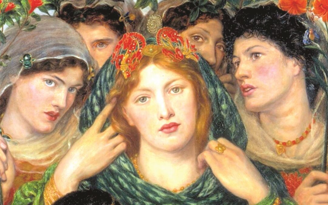 """Dante Gabriel Rossetti, """"La Bien Amada"""" (1866) - dettaglio"""