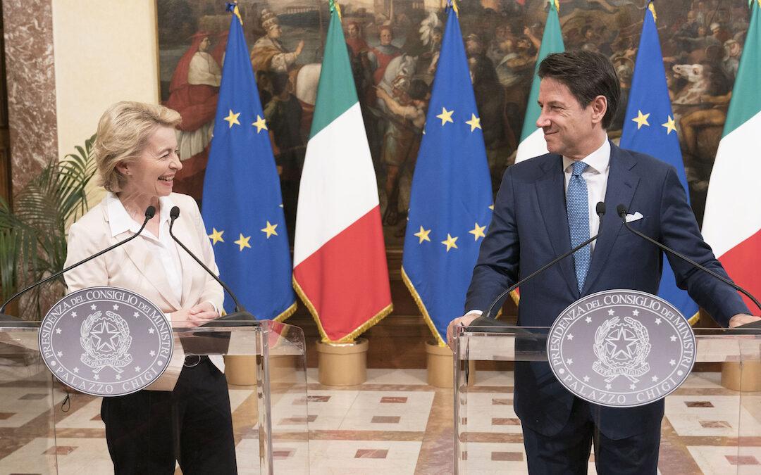 Giuseppe Conte con Von der Leyen