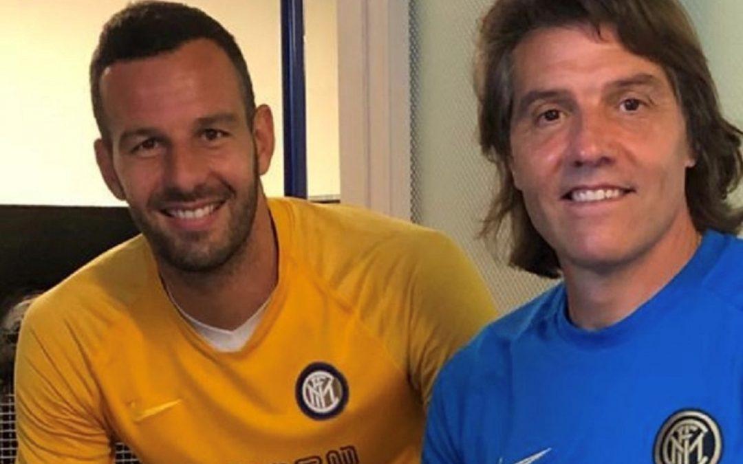 Adriano Bonaiuti con Samir Handanovic