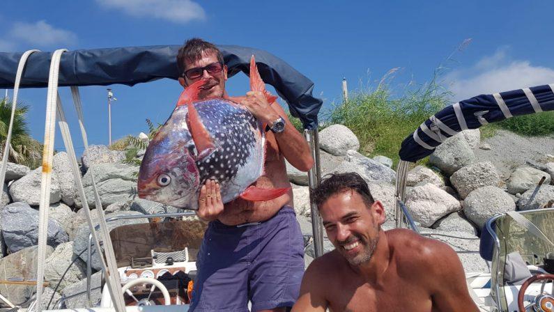 """Raro esemplare di """"Pesce Re"""" pescato nel mare del Cosentino"""