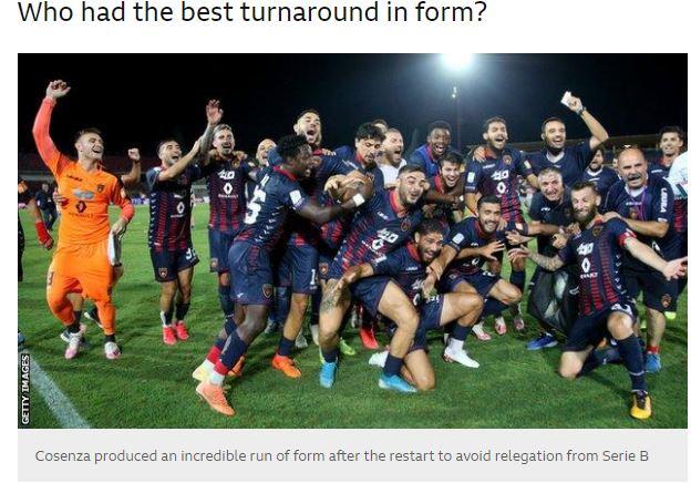 Serie B, la BBC esalta l'impresa del Cosenza riconoscendo ai calabresi «Il miglior rientro dopo il lockdown»