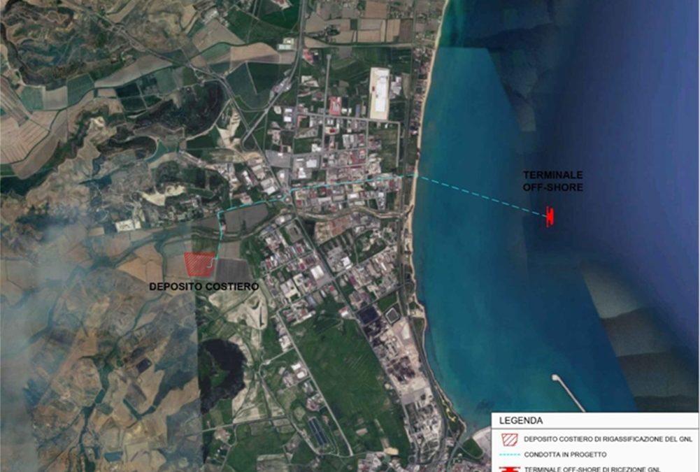 La mappa dell'area interessata dal rigassificatore a Crotone
