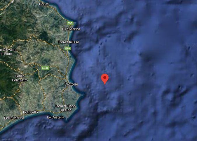 Scossa di terremoto davanti la costa di Crotone: magnitudo 3.5, avvertita dalla popolazione