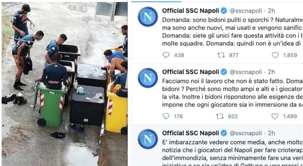 """Calcio Napoli, crioterapia nei bidoni della raccolta differenziata, la società: """"lo fanno tante squadre"""""""