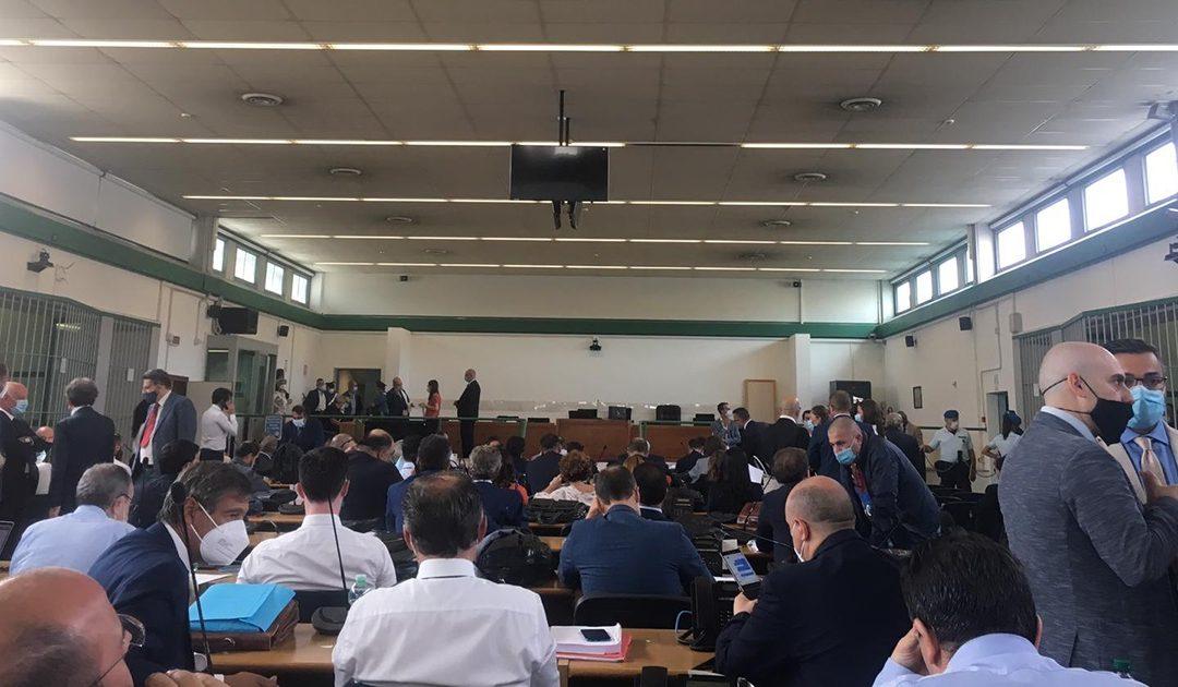 L'aula bunker di Rebibbia prima dell'inizio dell'udienza contro la 'ndrangheta