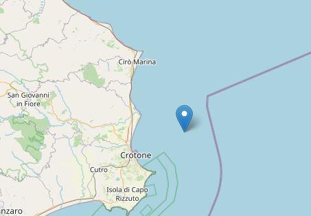 Scossa di terremoto davanti la costa di Crotone: magnitudo 3.3