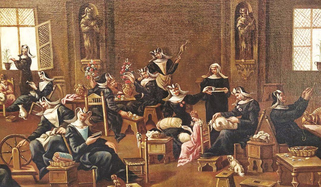 """Alessandro Magnasco, """"Interno di convento, con suore al lavoro"""""""