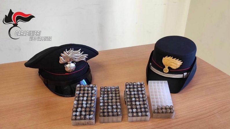 Proiettili e materiale esplosivo scoperti dai carabinieri nascosti in un  bosco del Vibonese