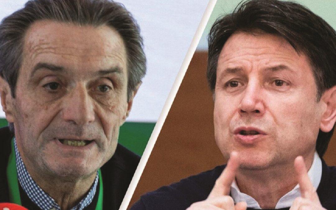 Il governatore della Lombardia Attilio Fontana e il presidente del Consiglio Giuseppe Conte