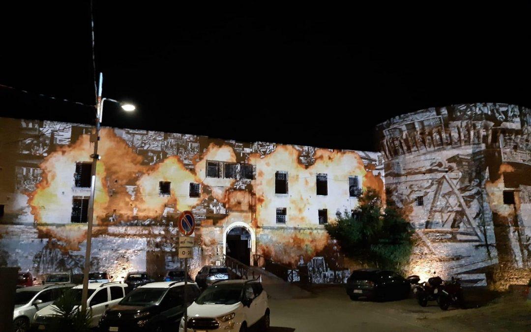 Il Castello aragonese durante le prove dell'allestimento