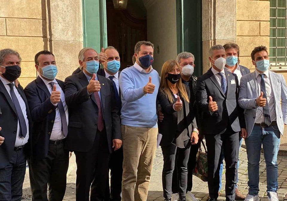 Matteo Salvini a Roma con la delegazione calabrese