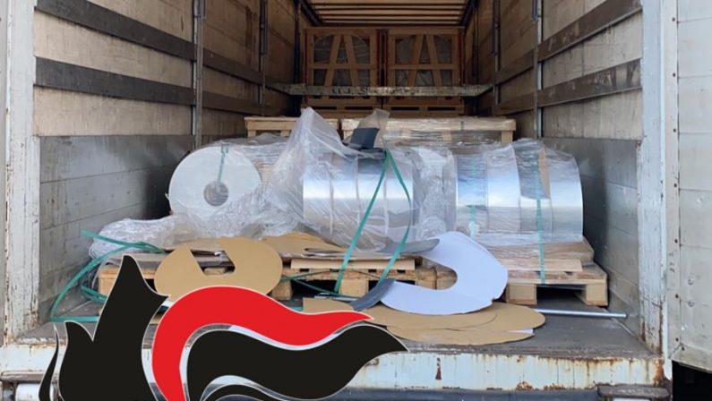 20 tonnellate di alluminio frutto di rapina in un camion. Carabinieri arrestano 2 persone