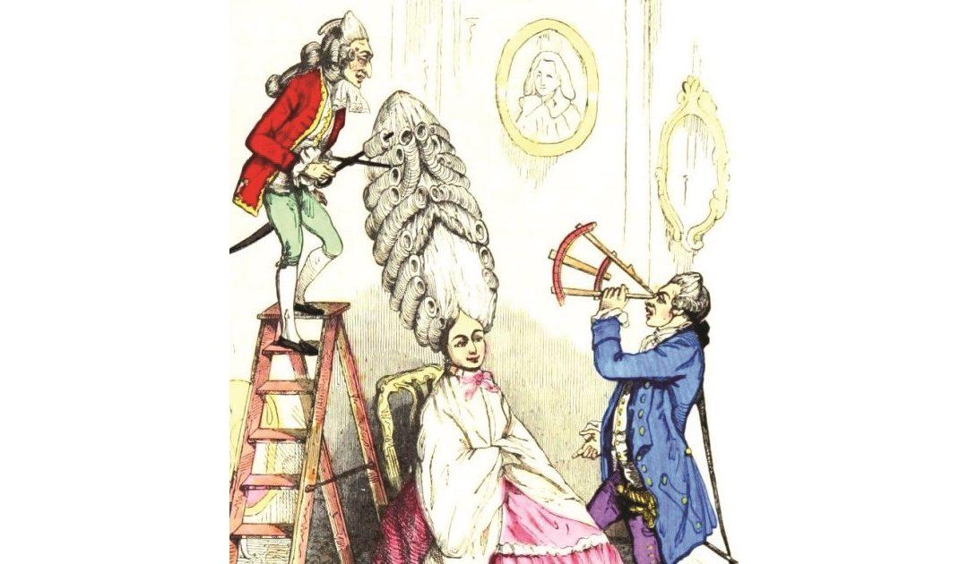 Acconciatura in scala, caricatura del XVIII° secolo